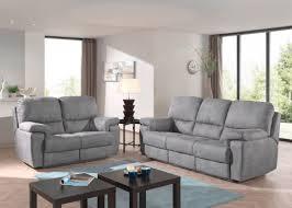 canapé 3 2 tissu salon complet karla canapé 3 places et canapé 2 places tissu gris