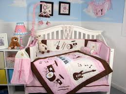 Brown Baby Crib Bedding Soho Pink And Brown Rock Band Baby Crib Bedding Set 13 Pcs