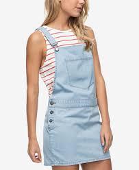 roxy juniors u0027 cotton denim overall dress juniors dresses macy u0027s