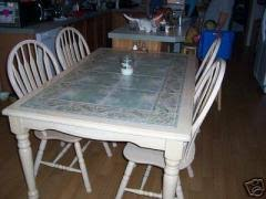 Cost To Ship Large Tile Top Kitchen Table W  Chairs LK - Tile top kitchen table and chairs