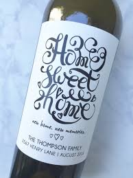 personalized new home housewarming gift wine label realtor