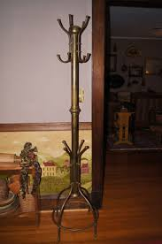 antique victorian tall brass hall tree stand coat rack antique