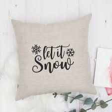 embroidered christmas embroidered christmas cushion let it snow by emodi