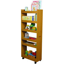 light brown wooden portable pantry cabinet for kids room book