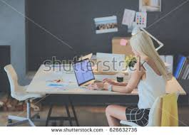 Sitting On The Desk Woman Sitting Desk Stock Images Royalty Free Images U0026 Vectors