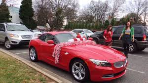 new car gift bow heart warming reaction to christmas gift bmw z4