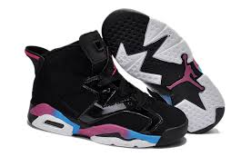 kid jordans nike air 6 shoes kid s black pink blue low shipping fee