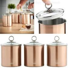 kitchen canister set stainless steel glass lid 3 piece coffee