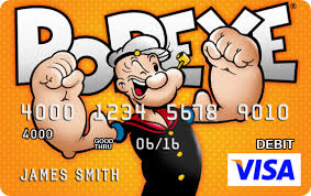 prepaid debit cards for personalized visa prepaid debit cards featuring popeye olive oyl