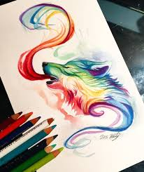 drawn rainbow watercolor painting pencil and in color drawn