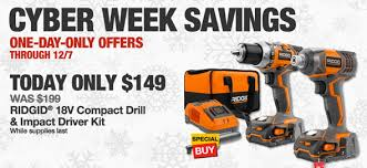 home depot black friday ridgid combos hd deal of the day ridgid 18v drill u0026 impact combo for 149