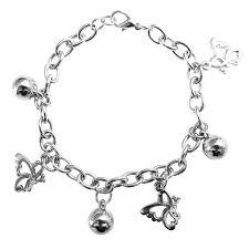 butterfly bracelet charms images Jingle bells butterfly charm dangling rhodium chain christmas bracelet jpg