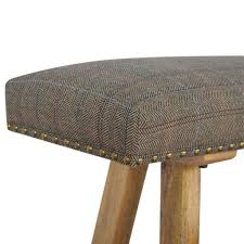 Hickory Chair Bench Artisan Solid Wood Bench Upholstered In Multi Tweed U2013 Hickory