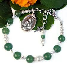 st jude bracelet st jude chaplet bracelet green white pearl adjustable