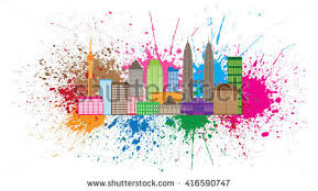 kuala lumpur malaysia city skyline color stock vector 416590747