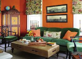 orange livingroom orange glasscloth and green velvet interiors by color