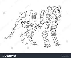 steampunk style tiger mechanical animal coloring stock