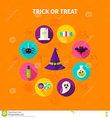Happy Halloween Icons Trick Or Treat Infographic Concept Stock Vector Image 77917211
