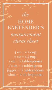 the home bartender u0027s measurement cheat sheet www thehiveblog com