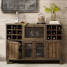 Distressed Wood Bar Cabinet Industrial Rustic Liquor Storage Wine Rack Wood Buffet Cabinet