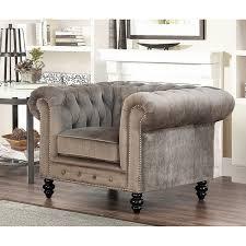 Overstock Armchair Abbyson Grand Chesterfield Grey Velvet Armchair Free Shipping