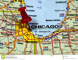 Chicago On Map Chicago Stock Photo Image 58286049