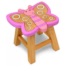 childrens table and stools kids childrens wooden pine pink butterfly stool chair seat