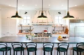 vintage barn pendant light and extra long kitchen island