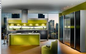 lime green kitchen island with modern retro kitchen cabinet and