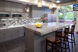Kitchen Quartz Countertops Awesome Kitchen With Black Cabinets And Mosaic Backsplash And