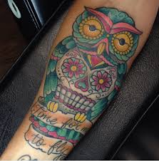 sugar skull owl by clark tattoonow