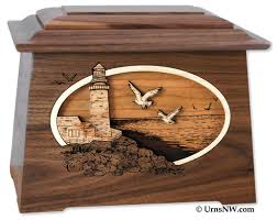 lighthouse cremation urn with wood inlay urns northwest