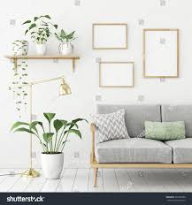 three frames poster mock scandinavian livingroom stock