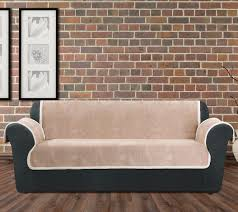 Vintage Leather Sofas Sure Fit Vintage Leather Sofa Furniture Cover W Sherpa Back