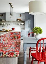 Banquette Seating Fixed Bench Fixed Kitchen Island With Upholstered Bench Seating Design Ideas