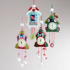 Cuckoo Clock Kit Embroidered Felt Cuckoo Clock Ornaments Set Of 4 World Market