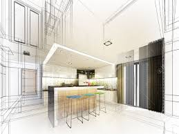 Interior Designs Of Kitchen Abstract Sketch Design Of Interior Kitchen Stock Photo Picture