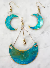 original earrings annemarie ridderhof original teal crescent moons turquoise