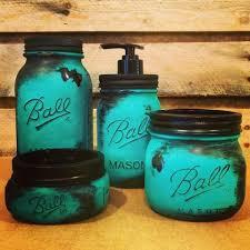 Mason Jar Bathroom Decor Office Mason Jar Set Bronze Coral And Teal Desk Set Rustic