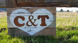 wedding gift signs rustic heart initial sign wood sign rustic signs initial