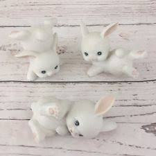 Home Interior Collectibles Homco Home Interior Porcelain White Bunny Figurines Set Of 3 1458