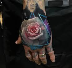 hand tatoo image rose hand tattoo realistic pink u0026 white flower best tattoo