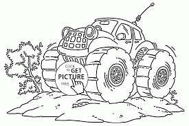 monster truck with antennas coloring page for kids transportation