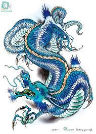 rocooart lc2817 21 15cm 3d large big tatoo sticker sketch blue