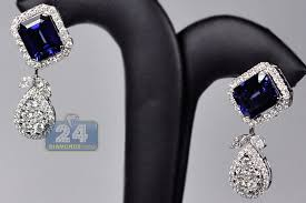 dimond drop womens blue sapphire diamond drop earrings 18k white gold 19 08ct