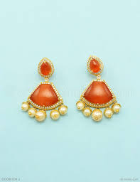 diamond earrings online buy beautiful orange cz ad american diamond dangle and drop