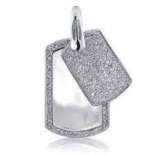 mens pave cubic zirconia double dog tag pendant