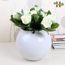 White Glass Vases Hand Blown White Round Glass Vases For Wedding Decoration