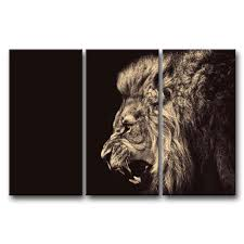 amazon com 3 panel wall art painting roar lion pictures prints on