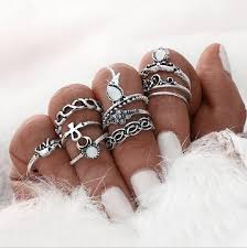 silver rings set images Ring sets for women silver color beach vintage punk elephant jpg